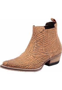 Bota Botina Em Couro Snap Shoes Laranja