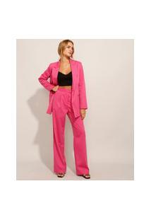 Calça Alfaiataria Com Pregas Cintura Super Alta Pink