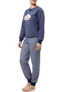 Pijama Longo Feminino Azul Marinho