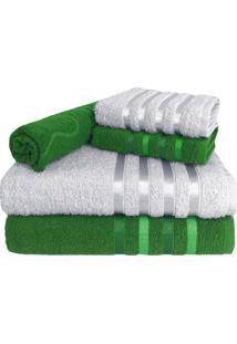 Jogo De Toalha 5 Peças Kit De Toalhas 2 Banho 2 Rosto 1 Piso Verde E Branca