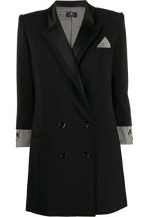 Elisabetta Franchi Double-Breasted Jacket - Preto
