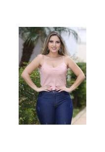 Blusa Feminina Alcinha Com Detalhes Em Pérolas