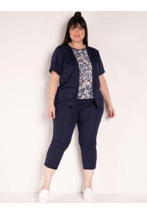 Conjunto Marinho Com Blusa E Calça Plus Size
