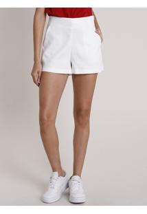 Short Feminino Texturizado Cintura Alta Com Bolso Off White