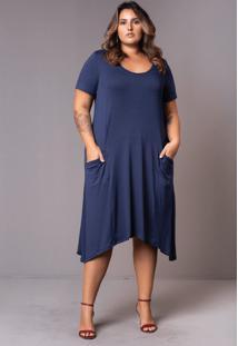 Vestido Comfy Azul Marinho Plus Size