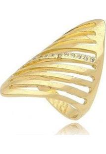 Anel Bandeira Com Zircônia - Feminino-Dourado