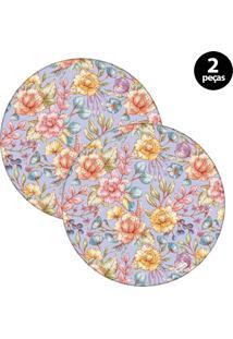 Sousplat Mdecore Floral 32X32Cm Roxo 2Pçs