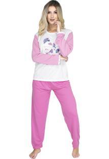 Pijama Longo Bravaa Modas Feminino 010 Rosa Claro