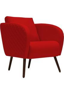 Poltrona Decorativa Para Sala De Estar E Recepção Dana D02 Suede Vermelho D-173 - Lyam Decor
