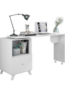 Mesa Para Computador Com Tampo Giratório E 1 Gaveta Carinho – Albatroz - Branco