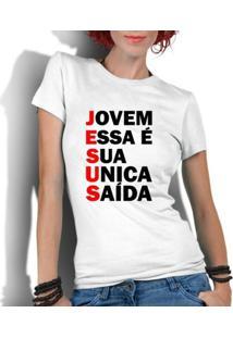Camiseta Criativa Urbana Gospel Evangélica Religiosa Saída - Feminino