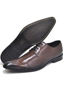Sapato Social Couro Top Franca Shoes Masculino - Masculino-Café