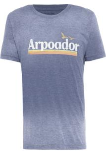 Camiseta Masculina Over Colored Arpoador Vintage - Azul