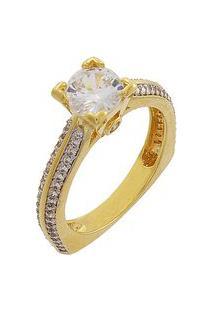 Anel Narcizza Solitário Zircônia Cristal Com Lateral Cravejada E Base Anatômica Banhado No Ouro