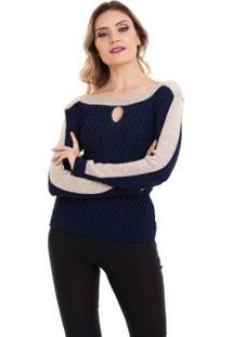 Suéter Kinara Tricot Gota Feminino - Feminino-Azul