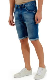 Bermuda John John Clássica Dubai Jeans Azul Masculina (Jeans Medio, 46)