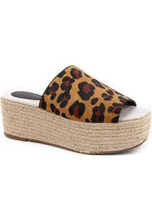 Tamanco Couro Shoestock Flatform Corda - Feminino-Onça