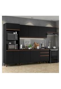 Armário De Cozinha Completa Madesa Reims 320001 Com Balcão E Tampo Preto Cor:Preto/Rustic