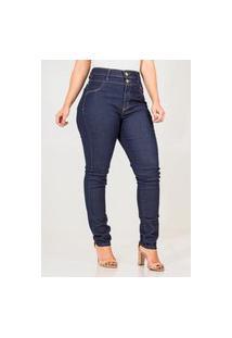 Calça Jeans Feminina Skinny Hot Cós Alto Com Botões