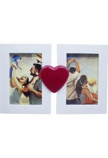Porta Retrato Minas De Presentes Casal Coração 2 Fotos 10X15Cm Branco - Kanui