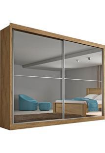 Guarda Roupa 2 Portas Com Espelho E 4 Gavetas Verona Plus– Made Marcs - Amendoa