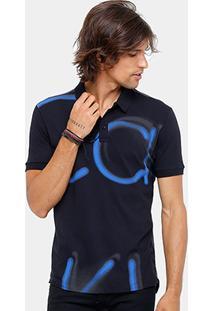 Camisa Polo Calvin Klein Long Fit Pixado Masculina - Masculino