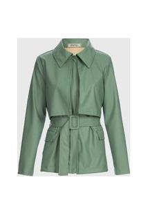 Jaqueta De Couro Com Faixa - Verde M