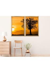 Quadro Com Moldura Chanfrada Por Do Sol Com Árvore Madeira Clara - Médio