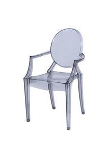 Cadeira De Jantar Invisible Com Braço Or Design Cinza