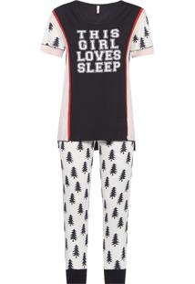 Pijama Longo Malha Camile - Branco