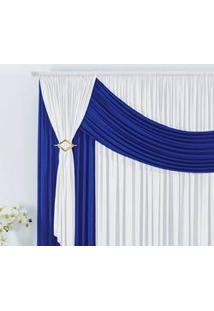 Cortina França Quarto E Sala 2,00M X 1,70M Azul Com Branco