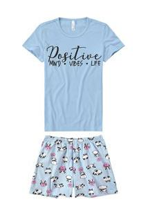 Pijama Curto Panda Listrado Malwee Liberta (1000059868) Azul - 100% Algodão