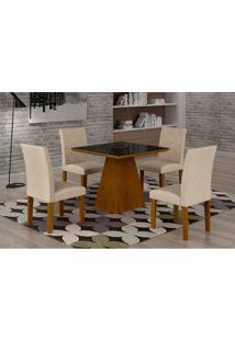 Conjunto De Mesa De Jantar Luna Com 4 Cadeiras Ane Iii Veludo Imbuia, Preto E Creme