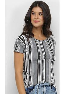 Blusa Cativa Básica Listrada Feminina - Feminino-Branco