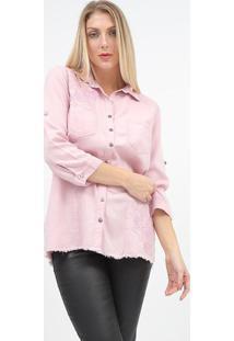 Camisa Em Sarja Com Bordados - Rosãªscalon
