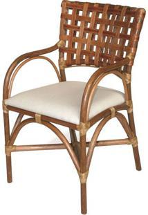 Cadeira Lynn Com Bracos Assento Cor Branco E Base Madeira Apui - 44720 - Sun House
