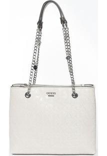 Bolsa Texturizada Com Correntes- Cinza Claro- 25,5X3Guess