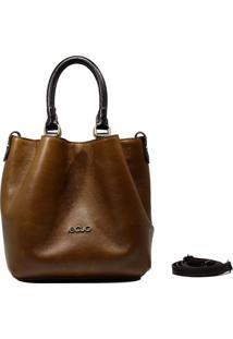 Bolsa Em Couro Recuo Fashion Bag Baú Marrom