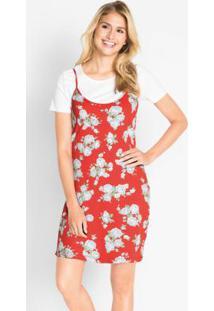 Vestido De Alcinhas Estampado Floral Vermelho