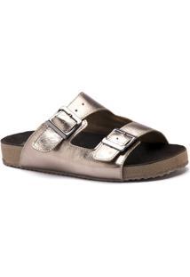 Sandália Birks 214 Metalizado Donna Comfort - Feminino-Bronze