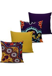 Kit 4 Capas Almofadas Estampa Floral Roxa E Mostarda 45X45Cm - Multicolorido - Dafiti