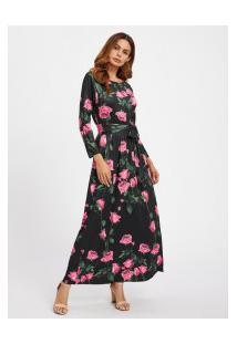 Vestido Longo Com Estampa Rosa E Laço - Preto