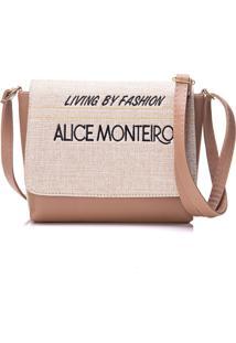 Bolsa Alice Monteiro Com Tampa Frase Nude