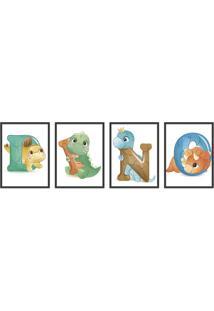 Quadro 40X120Cm Infantil Dinossauro Letras Moldura Preta Com Vidro Decorativo - Multicolorido - Dafiti