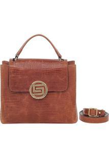 e366e872d ... Bolsa Smartbag Couro Alça De Mão Lagarto - Feminino-Caramelo