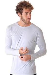 Blusa Líquido Uv Manga Longa Masculina - Masculino-Branco
