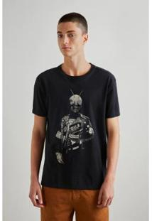 Camiseta Estampada Punk Rider Reserva Masculina - Masculino-Preto