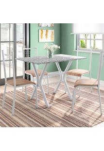 Conjunto De Mesa Miame Com 4 Cadeiras Lisboa Branco Prata E Nature