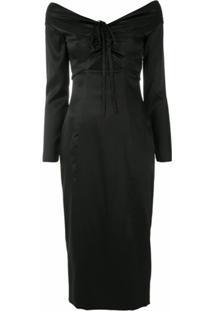 Dolce & Gabbana Vestido Midi De Seda - Preto