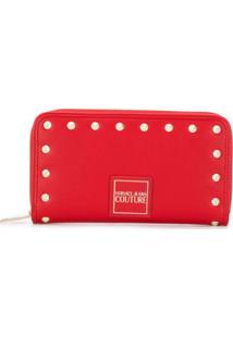 Versace Jeans Couture Carteira Com Detalhe De Tachas - Vermelho